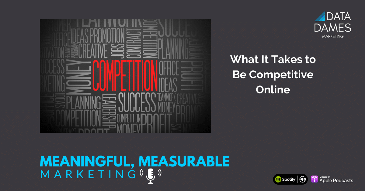 Word cloud around word competition on black background for Meaningful Measurable Marketing Podcast
